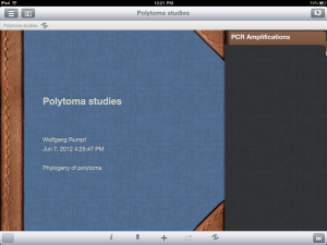 Cover of a Notebook in the iCERF iPad application with one section listed on the right