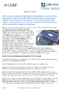 Preview of one of CERF resources document titled What is CERF, explaining key benefits of the CERF ELN system